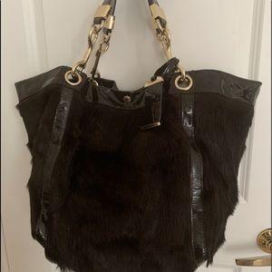 Rare Authentic Jimmy Choo mink/leather hobo bag